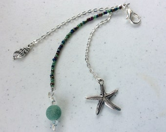 Planner Charm/Purse Charm/Zipper Pull With Starfish and Sea Shell