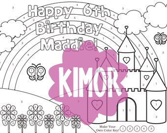Printable Customized Color by Number Castle Coloring Sheet for a Birthday