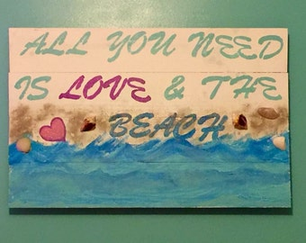 Love and the Beach wood wall hanging