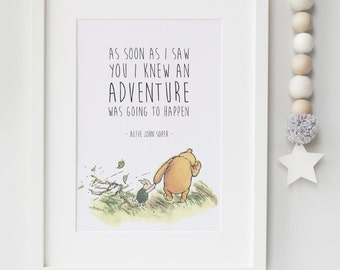 Personalised New Baby/Child Boy/Girl Winnie The Pooh Quote Nursery Birth Name Print Keepsake Picture Christening Gift