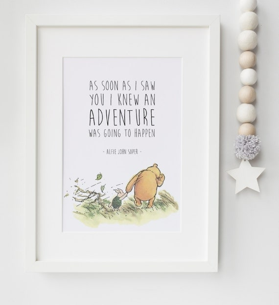 Baby Boy Gift Quotes : Personalised new baby child boy girl winnie the pooh quote
