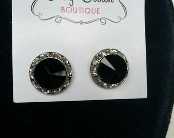 Rhinestone Earrings, Black Earrings, Faux Diamond Earrings, Jewelry, Costume Jewelry