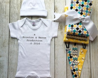 Baby Gift Set, Gender Neutral Gift, Production Onesie, Baby Coming Home Outfit, Baby Shower Gift Idea