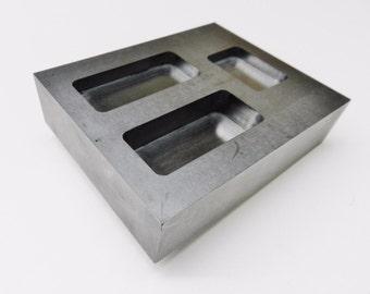 GRAPHITE INGOT MOLD Combo 3 Size Bars - 2 oz, 4oz, 6oz - Gold Scrap Melting Refining (14E)