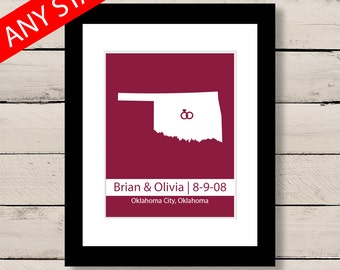 Gift for her, First Anniversary Gift, Engagement Art, Personalized Wedding Gift, Oklahoma Map Art Print, Engagement Gift, Gift for him