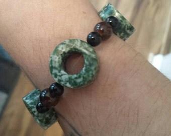 Green/white stone bracelet