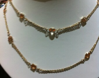 Four stand chain zircon necklace