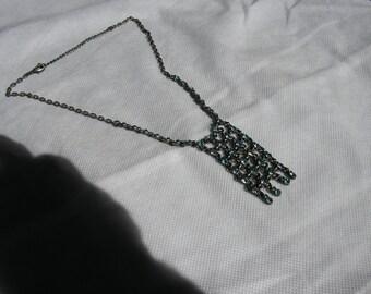 blue rhinestone waterfall necklace