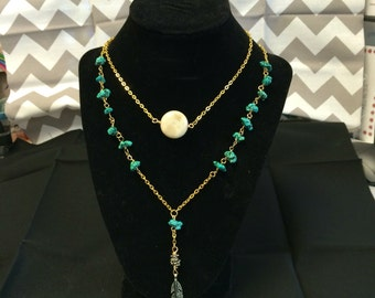 Long boho chain necklace