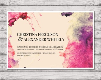 Watercolour Wedding Invitation - Print At Home File or Printed Invitations - Splashed In Personalised Pink Watercolor Wedding Invite