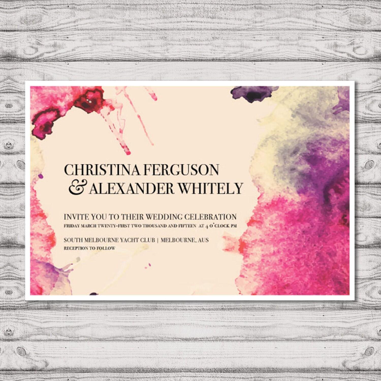 Watercolour Wedding Invitation - Print At Home File or Printed ...