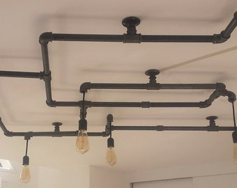 Chandelier in iron pipe for 6 bulbs
