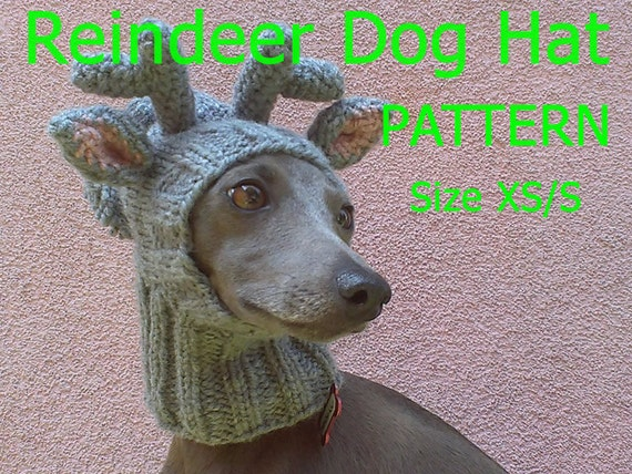 Reindeer dog hat pattern sizes XS and S