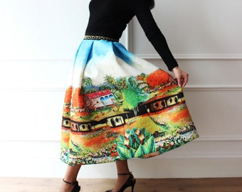 Party dress, long skirt pleated skirt with print party supplies, landscape fabric scuba years 50, cocktail, evening skirts, pattern, 60s