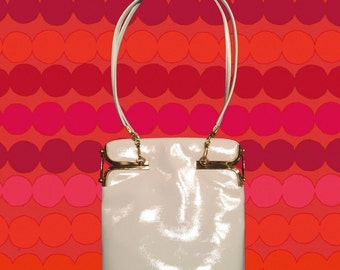 Vintage 70's White Patent Leather Bag • with Detailed Gold Hardware • Attached Change Purse • Amazing Condition!
