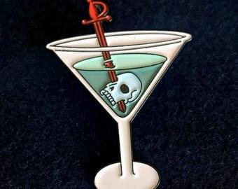 """Skulltini / Skull Martini 1.25"""" Enamel Pin!"""