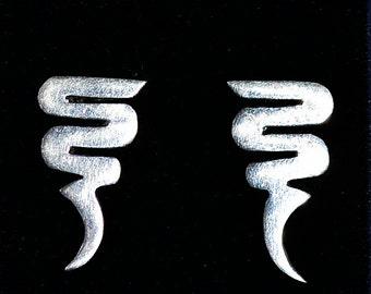 Vintage Sterling Silver Modern Zig Zag Design Earrings