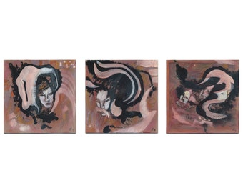 Image three-part 3 x 20/20 original art, people painting, pictures drawings, modern communication 3 / three parts - triptych