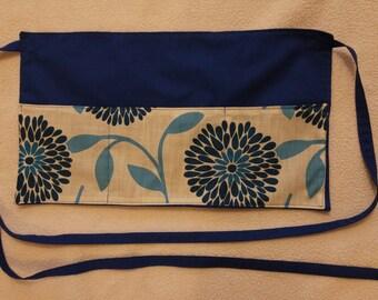Blue Flower Waitress/Vendor Half Apron