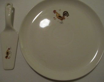 "Vintage ROOSTER AND HEN 10.25"" Cake Plate & Server"