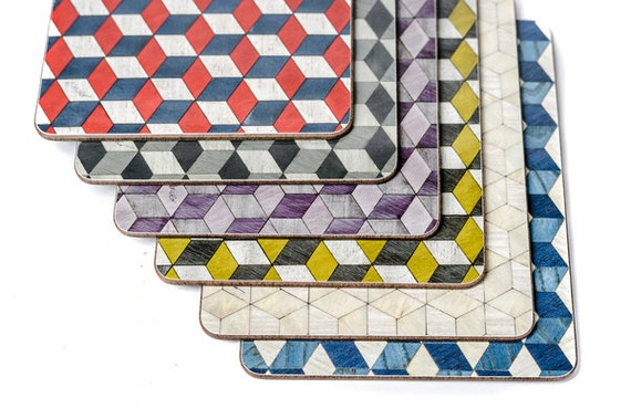 6 geometric placemats retro place mats art deco by for Table mats design your own