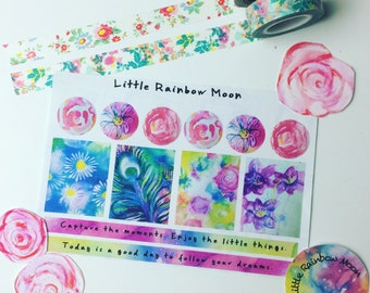 Floral artwork planner/journaling sticker sheet