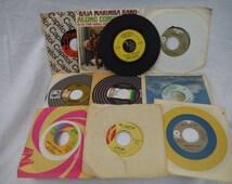 1960s -1970s Set of 10 Records -Antique, Retro, Vintage, Decorum, Usable