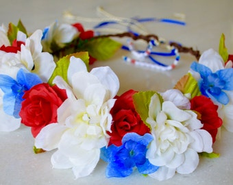 Red White & Blue Patriotic Flower Crown with Custom Beading, 4th of July Independence Day Flower Crown Headband
