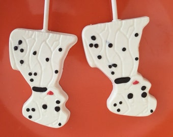 DALMATIAN DOG Chocolate Lollipops(12 qty) - Dog Dalmatian Favors/Puppy Party/Birthday Party/Party Favor/Dog Theme/Puppies/Dogs