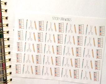 Art supply stickers