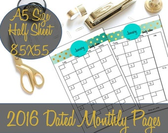 2016 Dated Monthly Planner Printable Inserts by ThreeWithATwist