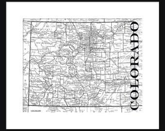 Colorado Map - Map of Colorado - Poster - Print