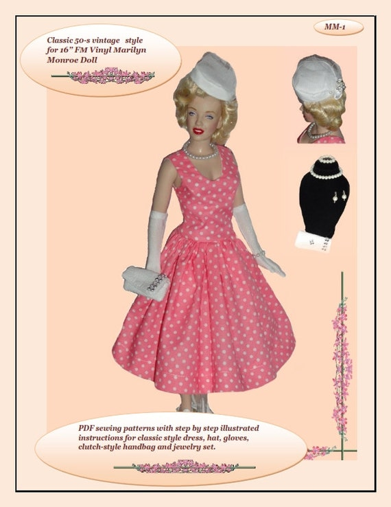 Doll Clothes Pdf Sewing Patterns For 16 Fm Vinyl Marilyn