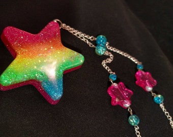 Rainbow Star Glitter Pendant Necklace