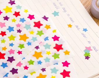 Colorful Rainbow Star Stickers (6 Sheets) / Cute Star Stickers / Kawaii Stickers / Cute Stickers / Star Stickers / Cute Planner Stickers
