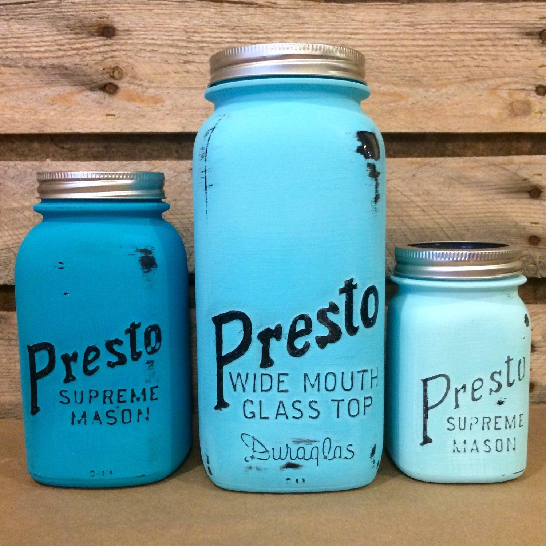 Kitchen Jars Set: Mason Jar Kitchen Canister Set Vintage Turquoise Mason Jars