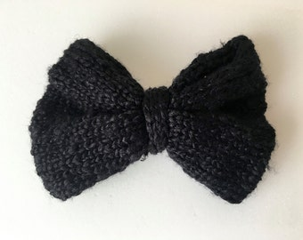 Shiny Black Knit Bow