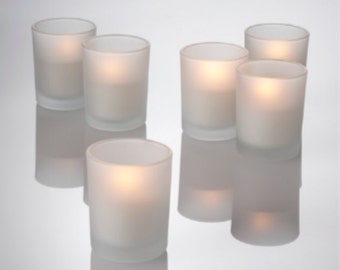 Set of 225 Votive Frosted Candle Holders & White Candles, Glass Candle Holder,  Bulk set Candle Holders, lot Candle holder, Wedding Gift