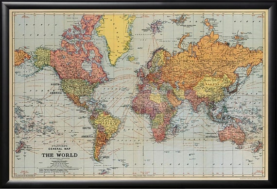 Vintage Style Framed Map of the World 20x28 inches Framed
