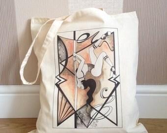 Chest Stand Pole Girl Design - 100 % Natural Cotton Tote Bag - 38cm x 43cm - Long handles