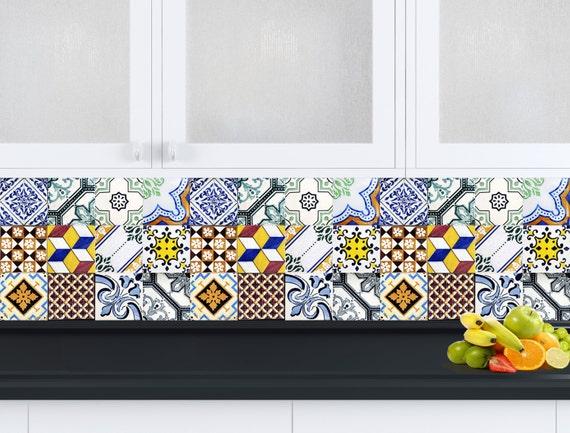 Mattonelle spagnole cucina tile set di 24 piastrelle adesivi for Adesivi mattonelle