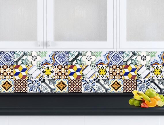 Mattonelle spagnole cucina tile set di 24 piastrelle adesivi for Adesivi mattonelle cucina