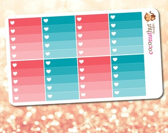 Coral Pink & Teal Blue Ombre Heart Checklist Planner Stickers (Erin Condren Life Planner Monthly Colors)