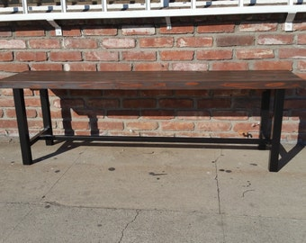 Hand made Iron base plank top bench