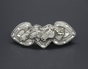 Small Three Horse With Three Heart Barrette