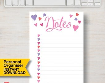 """PERSONAL SIZE Printable Personal Organizer Planner Insert. Pink, Purple & Red Heart Note. Insert Size: 3.75"""" x 6.75"""" (95mm x 171mm) 
