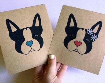 Boston terrier Sweethearts 5x7 illustration prints