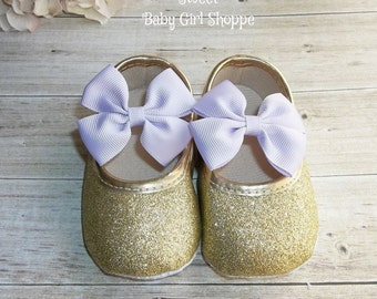 Lavender and Gold Baby Shoes - Lavender and Gold First Birthday - Purple and Gold First Birthday Outfit - Purple and Gold First Birthday