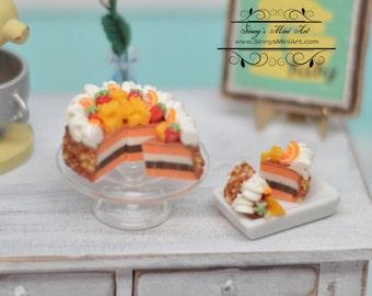 1:12 Dollhouse Miniature Fruit Topped Cake, Sliced K2201