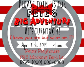 Personalized Square Pee-Wee Herman Birthday Invitation [JPEG]